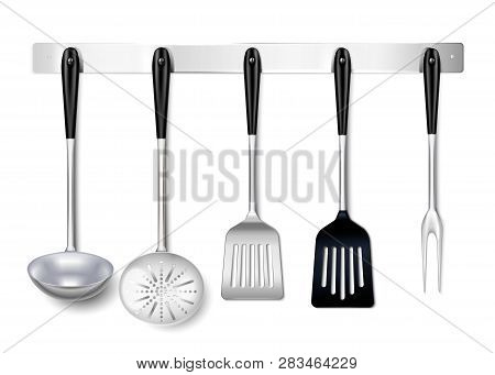 Kitchen Tools Utensils Metal Hanging Rack Closeup Realistic Image With Ladle Spatula Skimmer Cooking