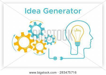 Head Silhouette Lightbulb Creative Idea Concept Vector Illustration. Idea Generator Graphic With Hea