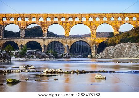Pont Du Gard Roman Aqueduct Languedoc-roussillon France, In Early Autumn. This Was Built By The Roma