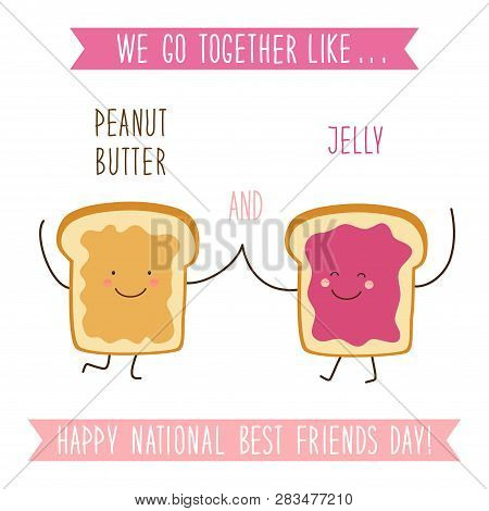 Cute Unusual National Best Friends Day Card As Funny Hand Drawn Cartoon Characters And Hand Written
