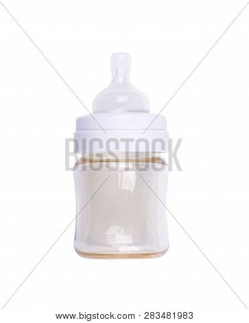 Baby's Feeding Bottle With A Teat On White