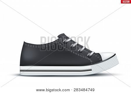 Mockup Of Canvas Sneaker. Black Color. Example Gumshoes. Realistic Editable Vector Illustration Isol