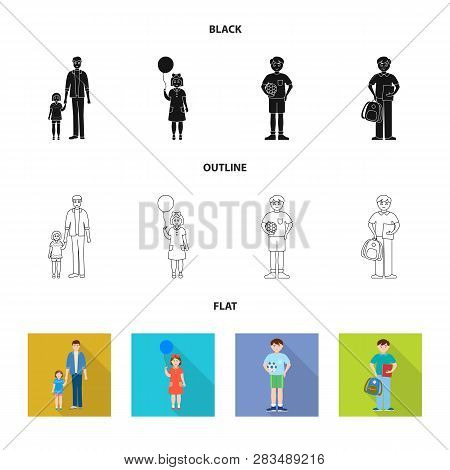 Vector Illustration Of Character And Avatar  Symbol. Collection Of Character And Portrait Vector Ico