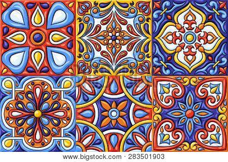 Mexican Talavera Ceramic Tile Pattern. Ethnic Folk Ornament. Italian Pottery, Portuguese Azulejo Or