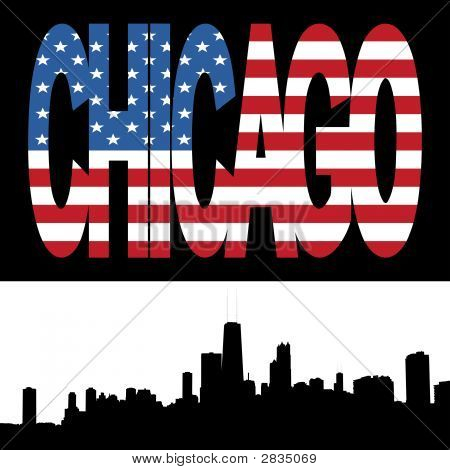 Chicago Skyline With Flag Text