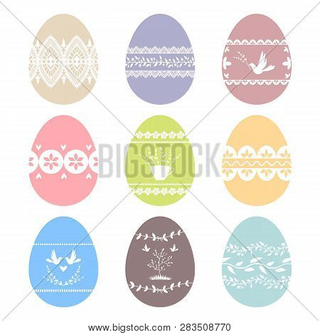 Collection Of Decorated Easter Eggs. Vector Images. Eps 10