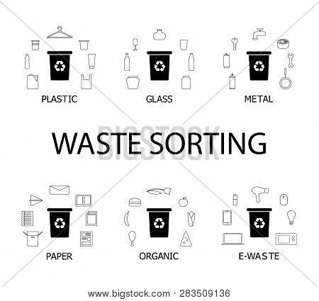 Waste Sorting Collection Of Icons, More Than 50 Elements. Six Dustbins With Different Types Of Garba