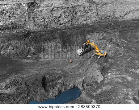 View From Above, On The Process Of Sorting Coal Mined. Open Pit Mine, Mining Coal Extractive Industr