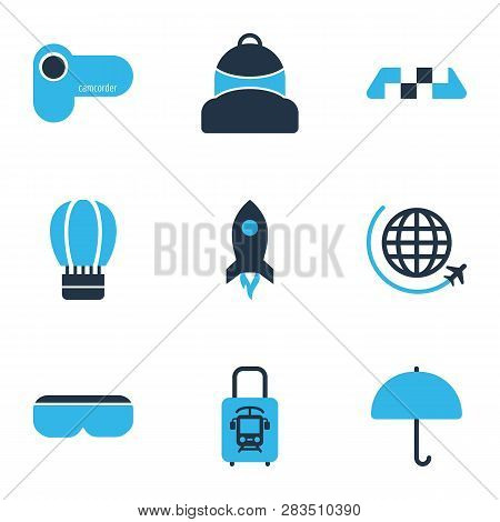 Trip Icons Colored Set With Flight, Taxi, Balloon And Other Schoolbag Elements. Isolated  Illustrati