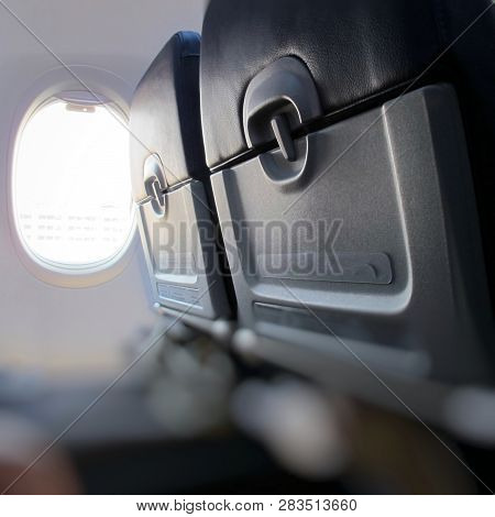 View Of Airplane Outside The Window, Plane View Outside The Window, Sky And Clouds, Traveling By Pla