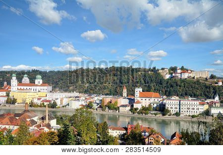 Passau At Danube River In Bavarian Forest,lower Bavaria,germany