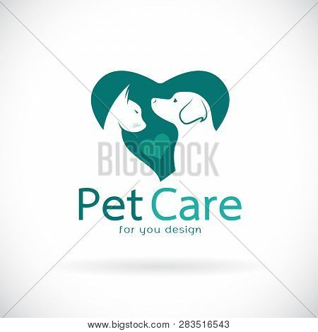 Vector Of A Dog And Cat In Heart Shape On White Background. Veterinary Icon With Pet. Pet Care. Bann