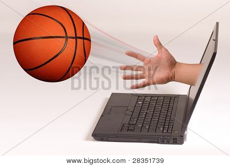 Basketball and Computer Screen