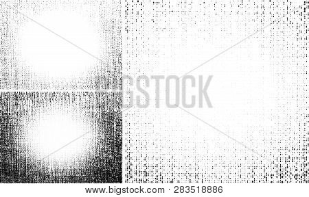 Grunge Light Halftone Texture. Crumpled Burlap Border. Canvas Grunge Effect. Frame Textile Backgroun