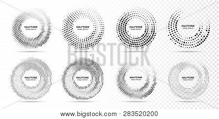 Halftone Circle Dotted Frame Circularly Distributed. Abstract Dots Logo Emblem Design Element. Round
