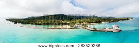 Tubuai Island, French Polynesia - Nov 08 2017: An Aerial Drone View Of Tubuai Island And Azure Turqu