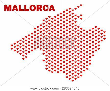 Mosaic Mallorca Map Of Valentine Hearts In Red Color Isolated On A White Background. Regular Red Hea