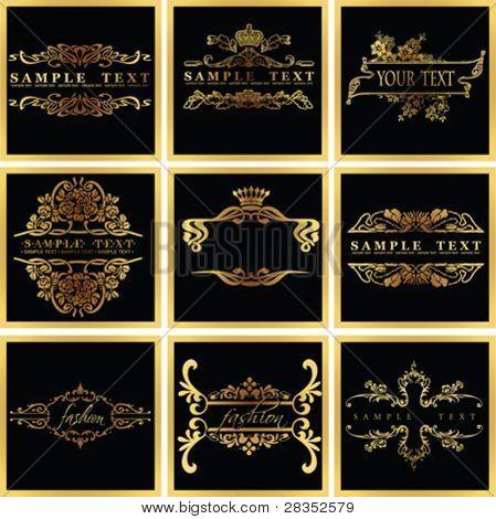 Decorative Ornate Golden Vector Quad Frames