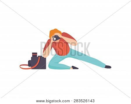 Male Professional Photographer Taking Photos With Modern Digital Camera, Paparazzi Or Reporter Chara