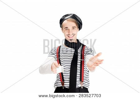 Happy French Man Holding Credit Card And Smiling Isolated On Shite