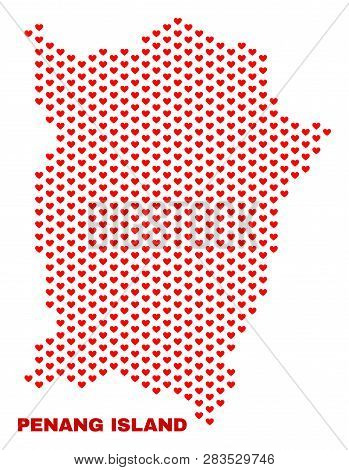 Mosaic Penang Island Map Of Heart Hearts In Red Color Isolated On A White Background. Regular Red He
