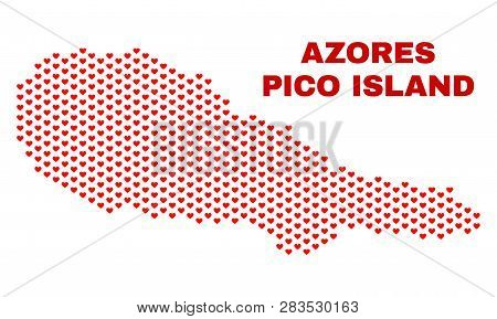Mosaic Pico Island Map Of Valentine Hearts In Red Color Isolated On A White Background. Regular Red
