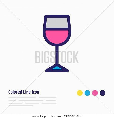 Vector Illustration Of Wineglass Icon Colored Line. Beautiful Entertainment Element Also Can Be Used