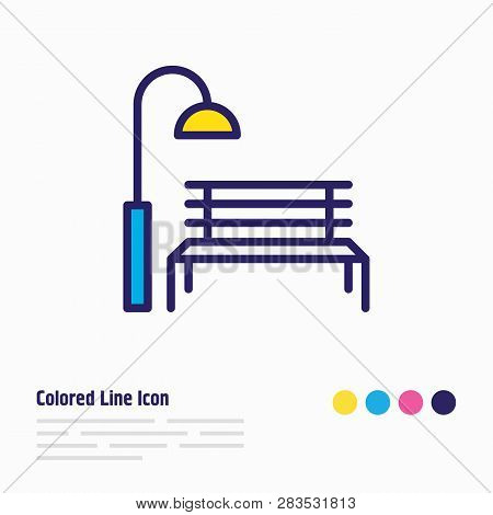 Vector Illustration Of Park Icon Colored Line. Beautiful Urban Element Also Can Be Used As Bench Wit
