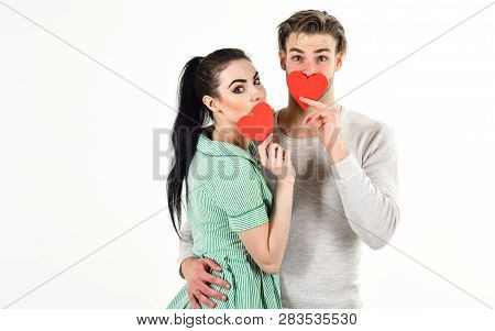 Man And Woman Couple In Love Hold Red Heart Card On White Background. Romantic Couple In Love Hug. H