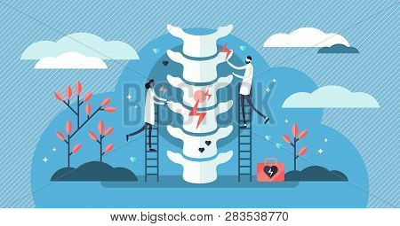 Chiropractor Vector Illustration. Flat Tiny Alternative Medicine Person Concept. Spine Pain, Problem