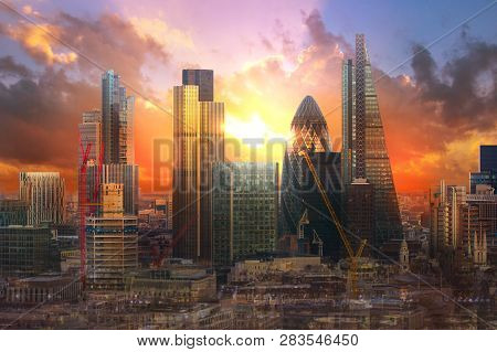 City Of London At Sunset. Uk, London