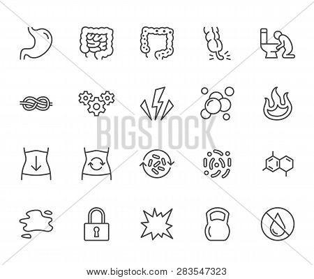 Symptoms Of Abdominal Disease Flat Line Icons Set. Stomach Pain, Appendicitis, Heartburn, Spasm, Dia