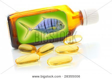 Brown bottle with fish oil. Health care concept.