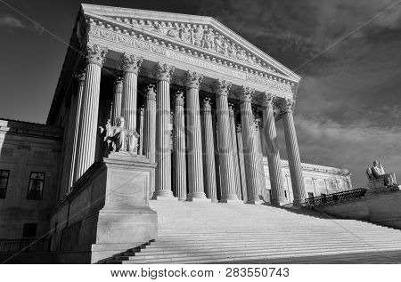 United States Supreme Court Building in black and white - Washington DC United States of America