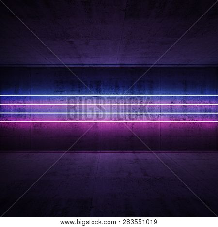 Dark Concrete Interior, Square Abstract Background With Colorful Neon Light Lines, 3d Render Illustr