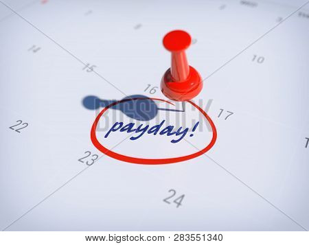 Pin On Calendar With Words Payday/3d Illustration Of Payday Calendar