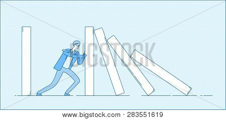 Domino Effect. Businessman Holding Falling Domino. Determination Resistance Pushing Chain Reaction H