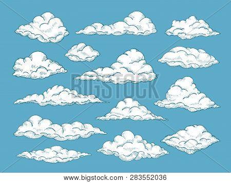 Hand Drawn Clouds. Pencil Sketch Sky Cloudscape. Outline Sketching Cloud Vintage Vector Engraved Bac