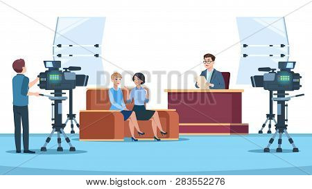 Tv Studio Interview. Talk Show In Broadcasting Studio On Television. Talking People With Microphone