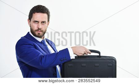 Commercial Offer. Businessman Demonstrate Briefcase. Business Conference. Business Attributes. Justi