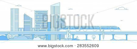 Subway Cityscape. Monorail Metro Train In Megapolis Futuristic Panorama. Underground Transportation