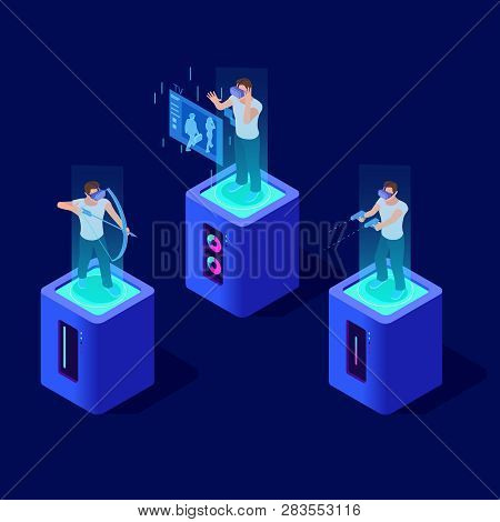 People In Virtual Reality. Man And Simulation Equipment. 3d Isometric Vector Characters Virtual Real