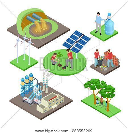 Ecology Isometric Concept With Green Technologies, Nature Revival, Water And Air Pollution Vector Il
