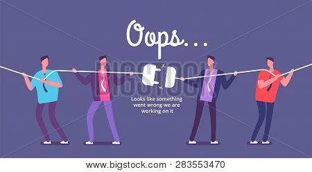 Disconnect Plug Concept. Angry People Unplug Connection. Error 404 Page Not Found Vector Web Design.