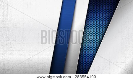 Construction Background. Vector Illustration Of Abstract Stainless Steel Metal Panel With Grunge Ove