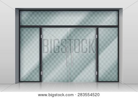 Glass Entrance Door. Shopping Center Mall Entrance Automatic Doors With Reflection And Chrome Frame