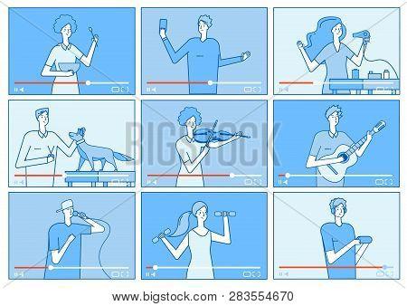 Video Tutorials. People Bloggers On Video Screen. Social Media Marketing Vloggers Content Creators.