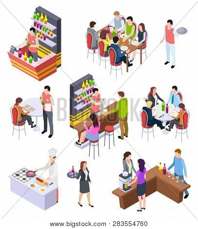 Isometric Restaurant. Waiters And People Eating Lunch At Tables In Cafe Bar Restaurant. 3d Vector Ch