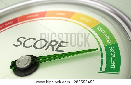 3d Illustration Of A Conceptual Gauge With Needle Pointing To Excellent. Business Credit Score Conce