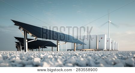 Concept Of Renewable Energy Storage Modern Black Photovoltacis, Modular Battery Energy Storage Syste